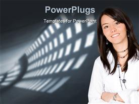 PowerPoint template displaying a person with a number of lights in the background