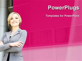 PowerPoint template displaying business woman posing in a business setting in front of business buildings