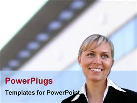 PowerPoint template displaying smiling woman in feminine business suit