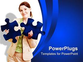 PowerPoint template displaying woman in beige suit holds blue jigsaw puzzle pieces