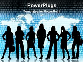 PowerPoint template displaying women in technology IT, flat world map background, binary code