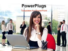 PowerPoint template displaying a happy professional girl with many people in the background