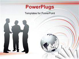 PowerPoint template displaying three people having a discussion with an earth globe