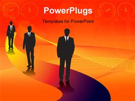 Group of drawn businessmen in silhouette in contrast against a city scape powerpoint design layout
