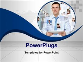 PowerPoint template displaying a professional with a  tab and various people online
