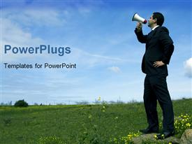 PowerPoint template displaying business man with megaphone in middle of empty grassy field
