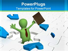 PowerPoint template displaying 3D man holding briefcase high stands in middle of puzzle
