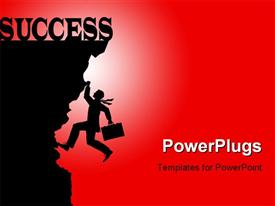 Silhouette graphic depicting a business concept, climbing to success template for powerpoint