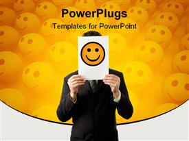 Businessman is holding a smiley template for powerpoint