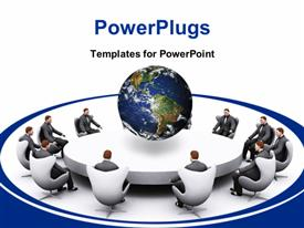 PowerPoint template displaying group of businessman sitting around an empty table in the background.