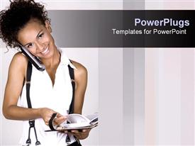 PowerPoint template displaying happy woman holding cell phone with cheek over shoulder opens directory
