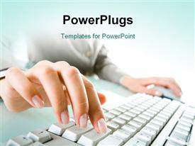PowerPoint template displaying close-up of woman's hand operating computer keyboard and mouse