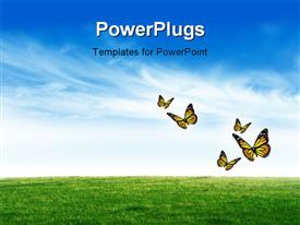 PowerPoint template displaying a green field with a number of butterflies