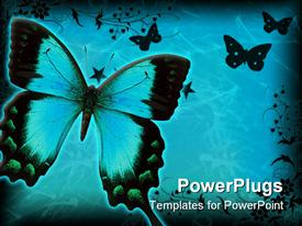 PowerPoint template displaying lots of butterflies with floral designs on a blue background