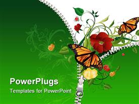 PowerPoint template displaying butterflies flying out of opened zipper to green plants
