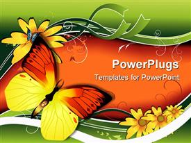 PowerPoint template displaying two colorful butterflies on an orange and green background