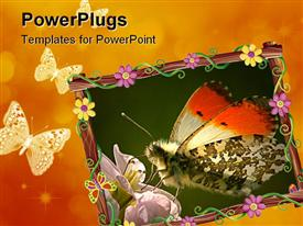 PowerPoint template displaying beautiful depiction of a butterfly on an orange background
