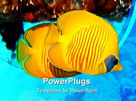 PowerPoint template displaying masked Butterflyfish yellow tropical fish in sea, ocean, coral, scuba diving