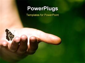 PowerPoint template displaying butterfly perches on human hand with bright light glow