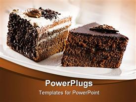 PowerPoint template displaying beautiful tasty chocolate cakes close up shoot in the background.