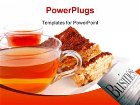 PowerPoint template displaying english cake and tea with cherry on white plate in the background.
