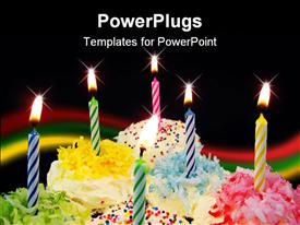 PowerPoint template displaying six decorated cupcakes with bright fun candles in the background.