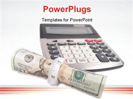 PowerPoint template displaying a calculator with a bundle of dollars and white background