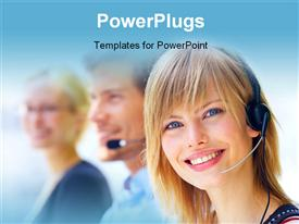 PowerPoint template displaying a pretty call center female agent with other co-workers