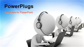 Small person - operators sitting at laptops in ear-phones with a microphone presentation background