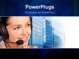 PowerPoint template displaying smiling pretty business woman with a headset in the background.