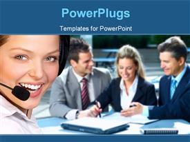 PowerPoint template displaying a pretty female call center agent smiling with other business people