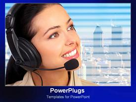 Smiling operator over city background powerpoint template