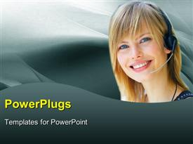 PowerPoint template displaying customer support lady with headphone and microphone over grey background