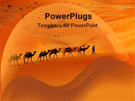 PowerPoint template displaying camel caravan going through the sand dunes in the Sahara Desert Morocco in the background.