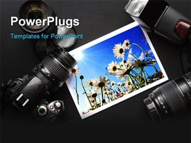 PowerPoint template displaying a photograph with two cameras and lens