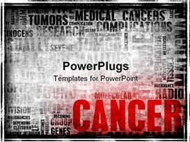 PowerPoint template displaying word cloud with cancer related terms in black and white with CANCER in red