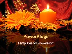PowerPoint template displaying flowers and burning pillar candle on reflective table top
