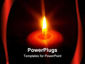 PowerPoint template displaying a candle burning with dark background
