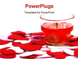 PowerPoint template displaying glass candleholder with burning candle over scattered hearts in the background.