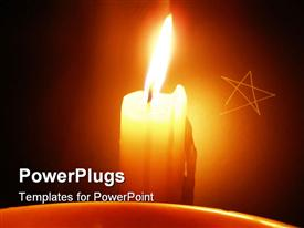 PowerPoint template displaying lit candle in the background.