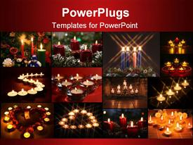 PowerPoint template displaying twelve colorful tiles with lit candles on a red background