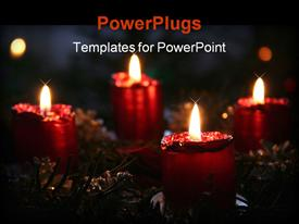 PowerPoint template displaying advent wreath