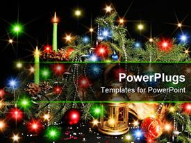 PowerPoint template displaying attributes of Christmas - lamp cone beads candle garland balls tree paper streamer
