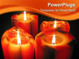 PowerPoint template displaying big and colorful decorative candles glow in the dark