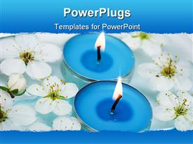 PowerPoint template displaying blue Candle with spring flowers in water