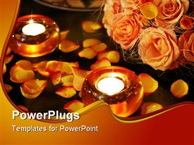 PowerPoint template displaying some burning candles and rose petals seen here with a bouquet of flowers in a romantic scene in the background.