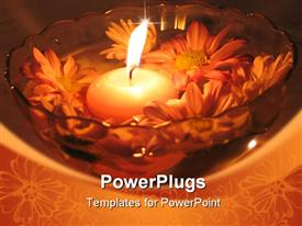 PowerPoint template displaying a scented lit candle in a bowl with water and flowers