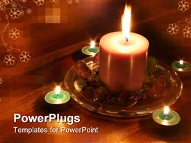 PowerPoint template displaying wooden table with white flowers with lighted candles and stones