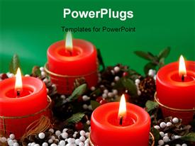Christmas candles arrangement in colorful festive themes template for powerpoint