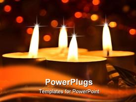 PowerPoint template displaying a number of candles burning with a background of city lights